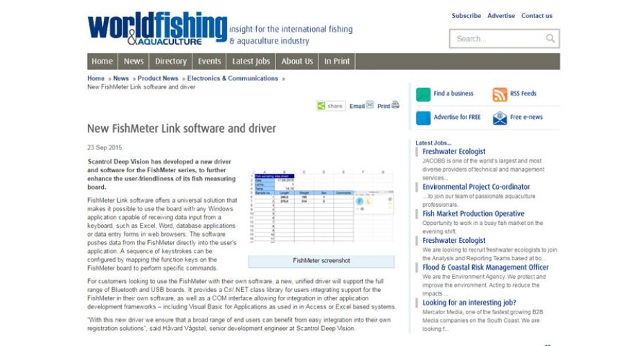 New FishMeter Link software and driver